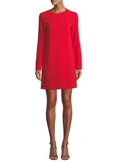 Tibi Long-Sleeve Crepe Crewneck Mini Cocktail Dress