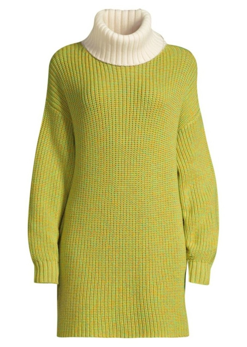 Tibi Longline Merino Wool Turtleneck Sweater