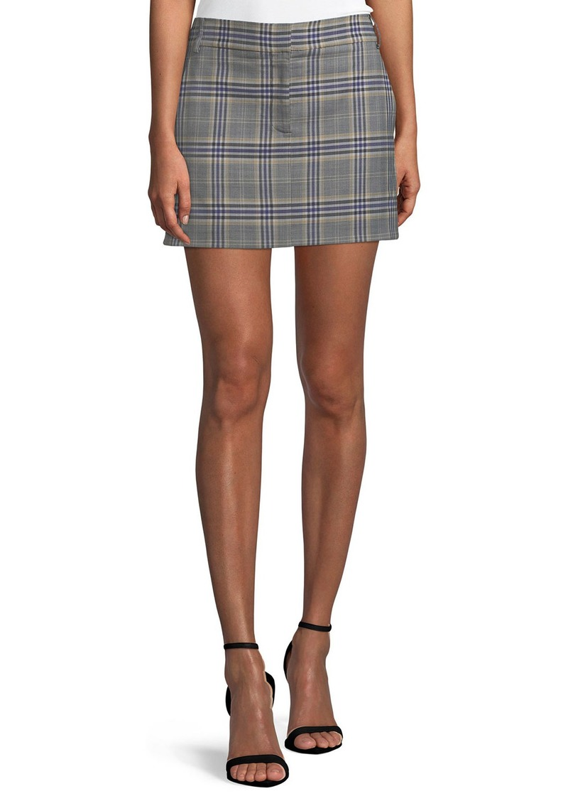 Tibi Lucas Plaid Suiting Mini Skirt
