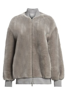 Tibi Luxe Oversized Faux Fur Bomber Jacket