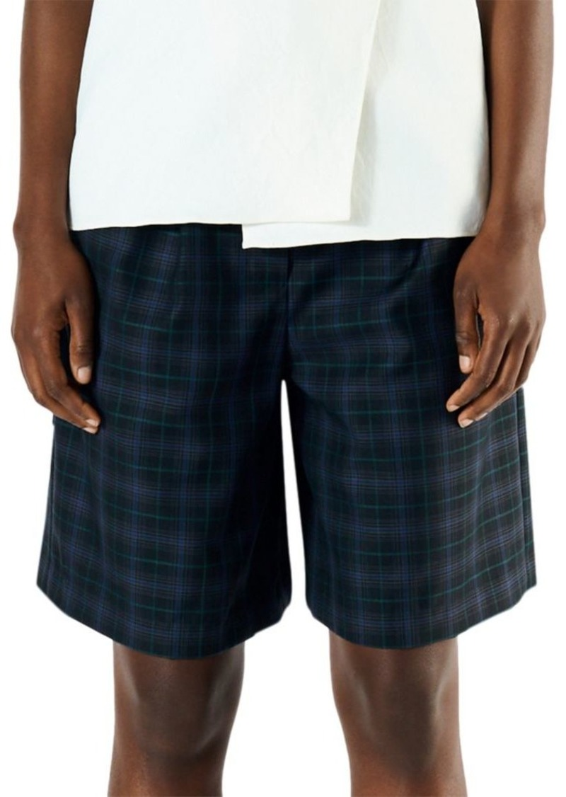 Tibi Marvel Wool-Blend Plaid Suiting Shorts