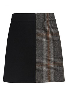 Tibi Mats Colorblock Mini Skirt