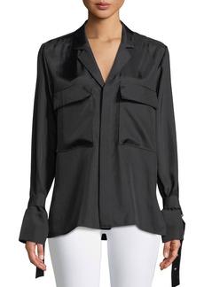 Tibi Mendini Buckle Twill Button-Down Shirt Jacket