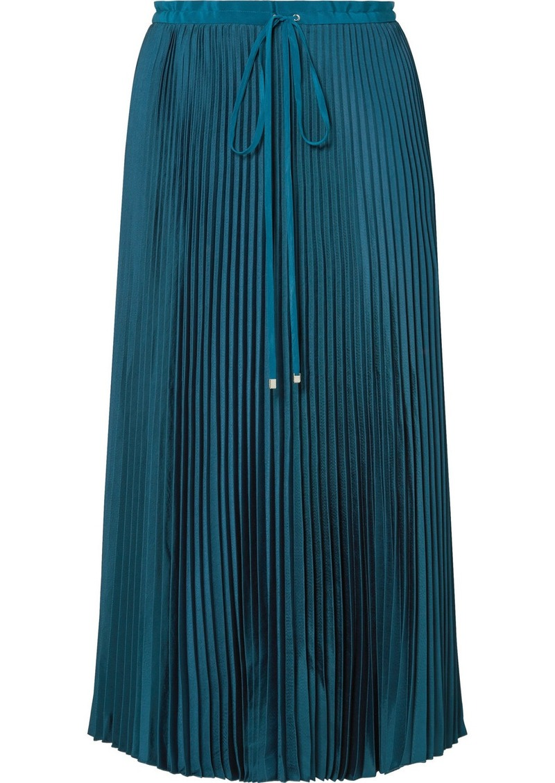Tibi Mendini Pleated Twill Midi Skirt