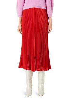 Tibi Mendini Plissé Pleated Midi Skirt
