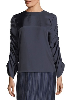 Tibi Mendini Shirred-Sleeves Satin Twill Top