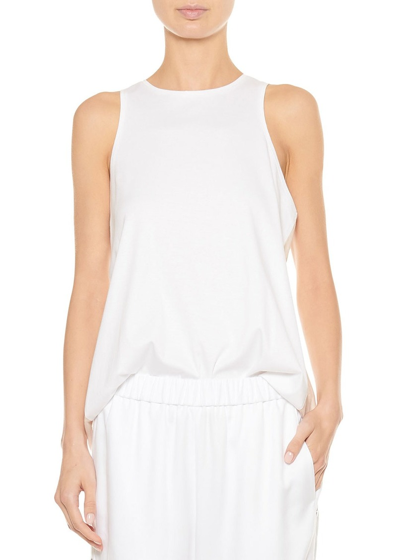 Tibi Mercerized Knit Shirred-Back Tank