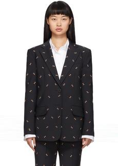 Tibi Navy Ant Embroidery Blazer