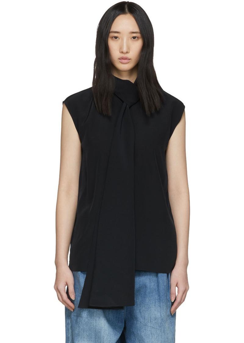 Tibi Navy Silk Tie Neck Sleeveless Blouse