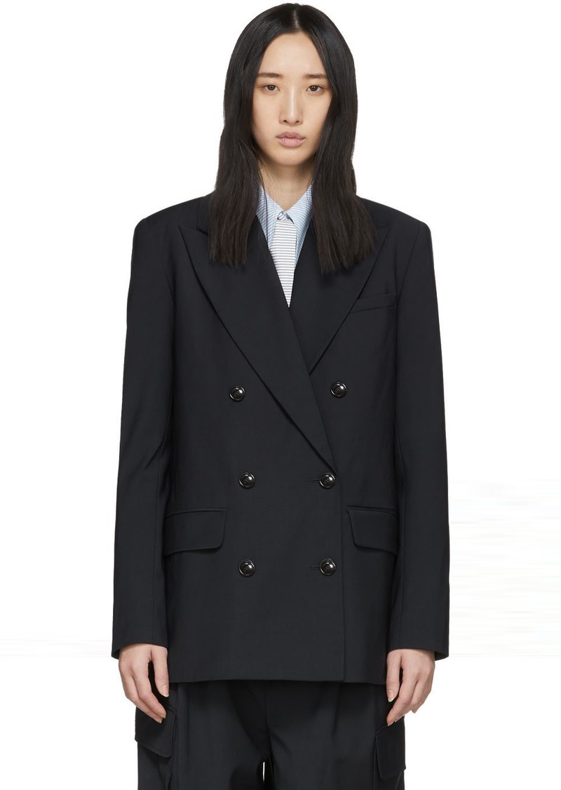Tibi Navy Wool Double-Breasted Blazer