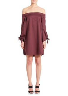 Tibi Off-The-Shoulder Bell-Sleeve Cotton Dress