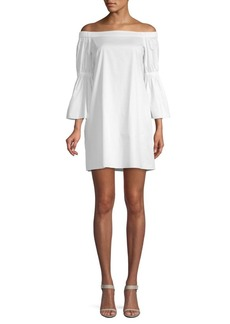 Tibi Off-the-Shoulder Mini Satin Dress