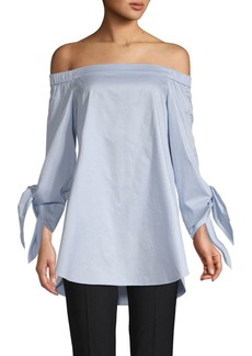 Tibi Off-the-Shoulder Satin Top