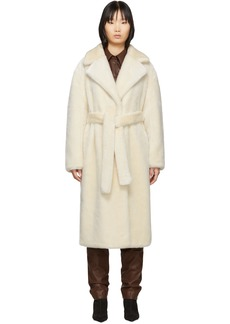 Tibi Off-White Faux-Fur Oversized Luxe Coat