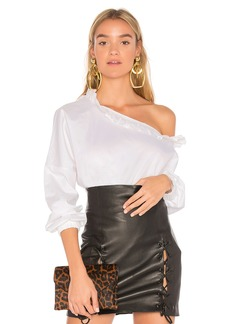 Tibi One Shoulder Ruffle Top