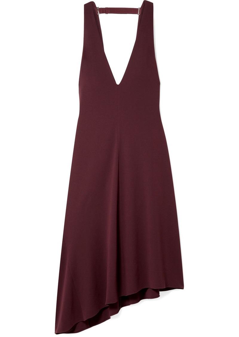 Tibi Open-back Asymmetric Crepe Midi Dress