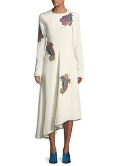 Tibi Open-Back Paisley Asymmetric Midi Dress