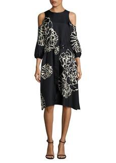 Tibi Orla Bloom Cold-Shoulder Midi Dress