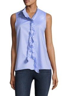 Tibi Oxford Ruffle Top