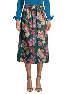 Tibi Paisley Print Midi Skirt
