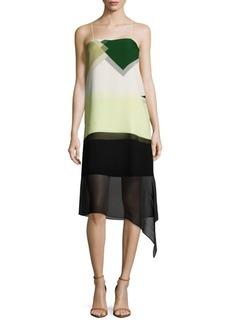 Tibi Pieza-Print Asymmetric Silk Dress