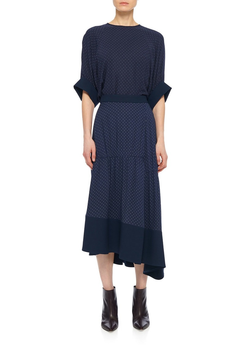 Tibi Pindot Shirred Paneled Skirt