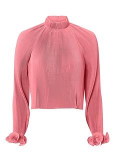 Tibi Pink Pleated Crop Top