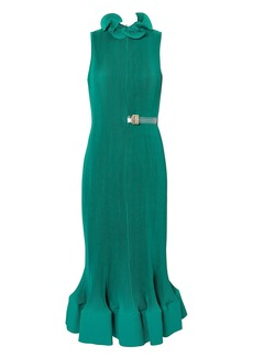 Tibi Pleated Belted Green Dress
