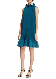Tibi Pleating Short Sleeveless Dress