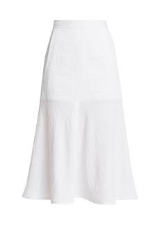 Tibi Plisse Front Slit Flared Midi Skirt