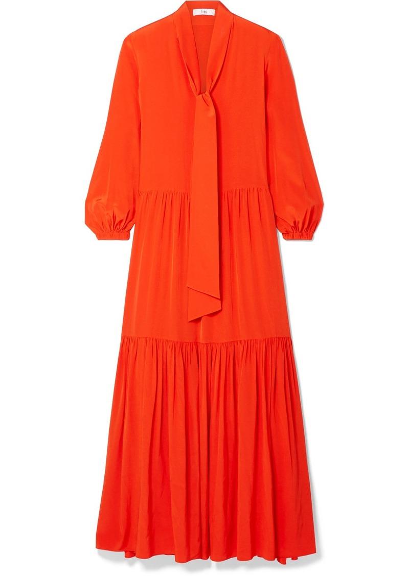 Tibi Pussy-bow Tiered Silk Crepe De Chine Maxi Dress
