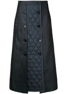 Tibi quilted button midi skirt