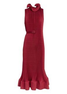 Tibi Red Pleated Dress