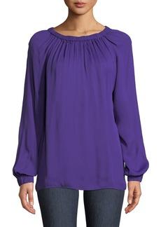 Tibi Round-Neck Long-Sleeve Tieback Ruching Georgette Top
