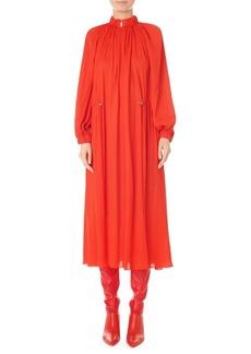 Tibi Ruched Drawstring Mockneck Midi Dress