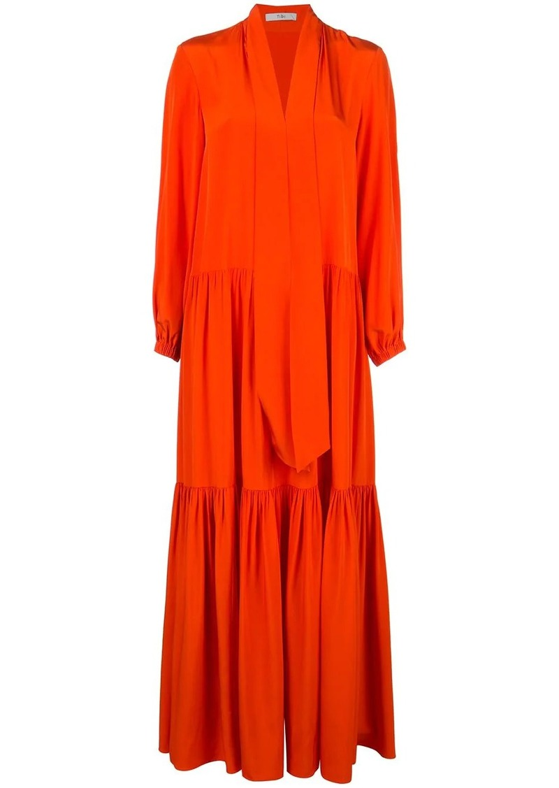 Tibi ruffle dress with tie neck