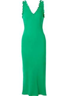 Tibi Ruffle-trimmed Washed-satin Midi Dress