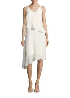 Tibi Ruffled V-Neck Sleeveless Silk Dress