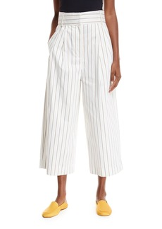 Tibi Sateen Stripe Wide-Leg Crop Pants