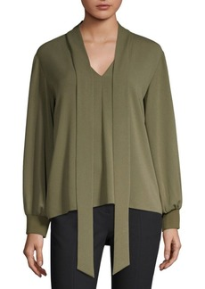 Tibi Savana Crepe Tie Neck Blouse