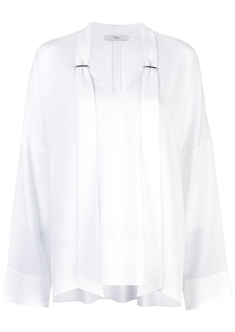 Tibi Savanna crepe easy V-neck tie top