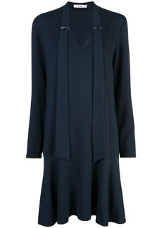 Tibi Savanna crepe tie neck dress