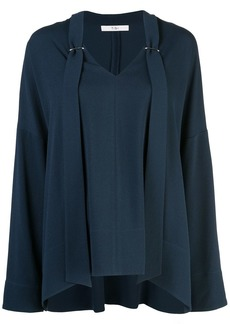 Tibi Savanna crepe V-neck top
