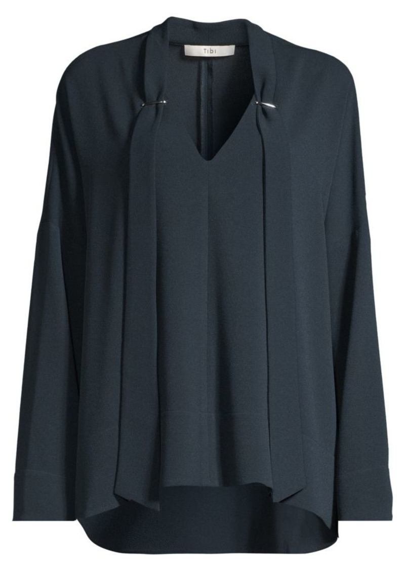 Tibi Savannah Draped Tieneck Blouse