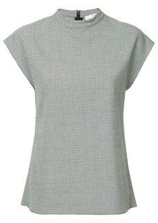 Tibi shortsleeved checked top