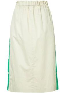 Tibi side stripe snap skirt