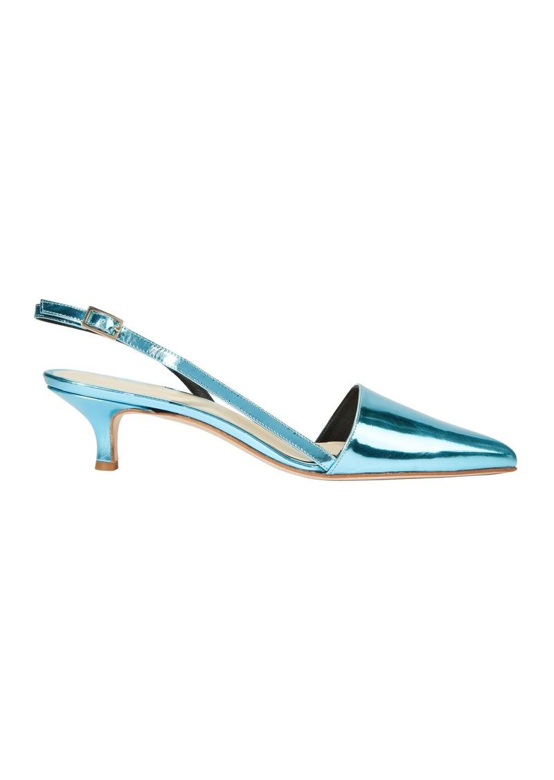 Tibi Simon Metallic Blue Slingback Kitten Heels