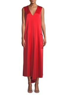 Tibi Sleeveless Bonded Satin Long Cocktail Dress