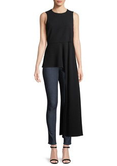 Tibi Sleeveless Draped Crewneck Top