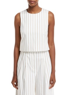 Tibi Sleeveless Stripe Sateen Top w/ Cutout Back